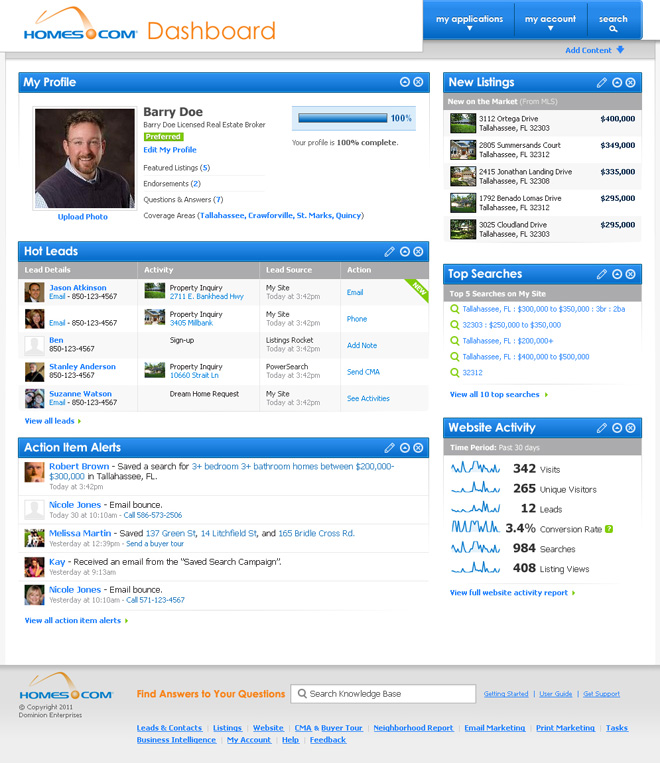 Homes.com Dashboard